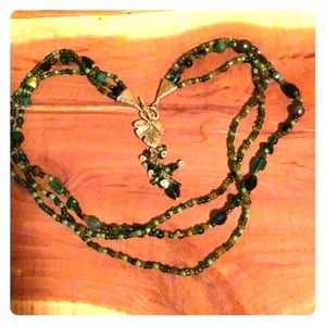 Hand Made, Green and Silver Necklace